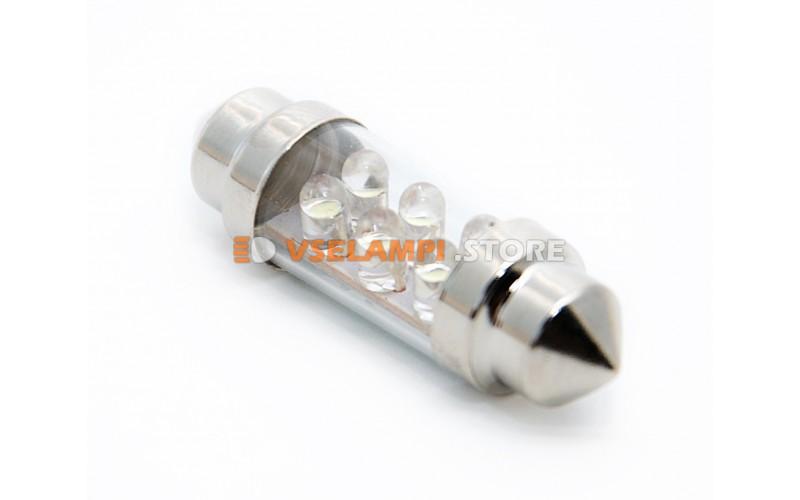 Светодиод 12v T11 36мм АС 6LED - цвет свечения белый