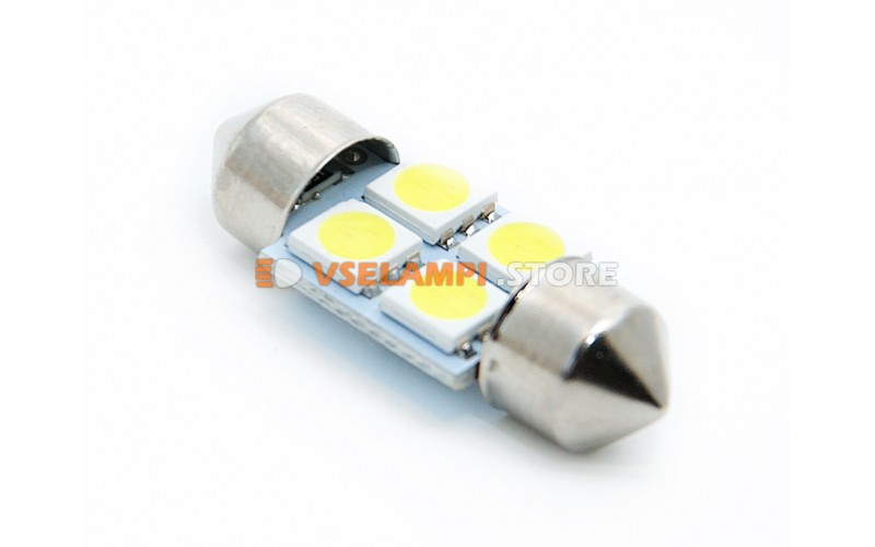 Светодиод 12v T11 31mm AC 4SMD, 5050