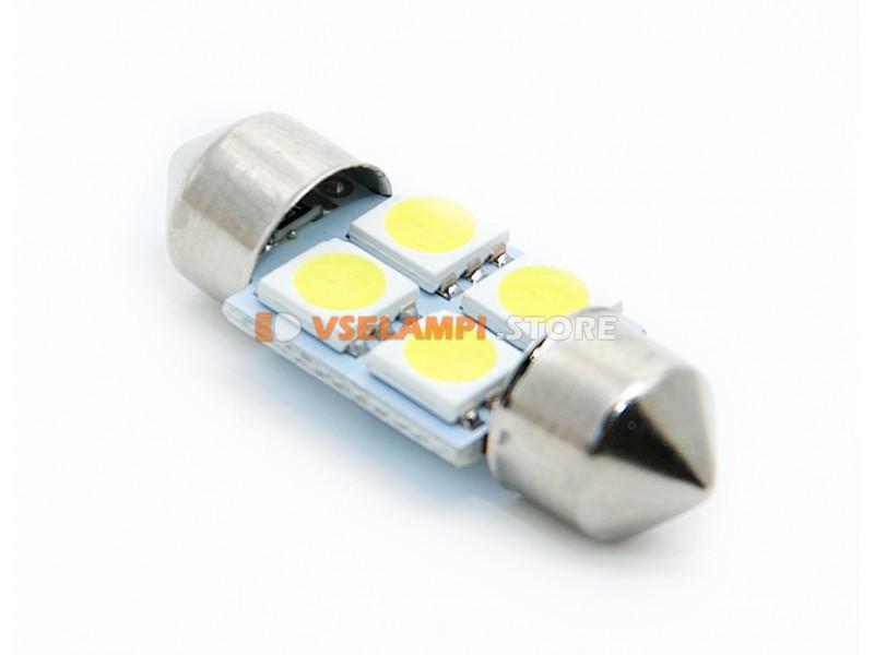 Светодиод 12v T11 31mm AC 4SMD, 5050 - цвет свечения белый