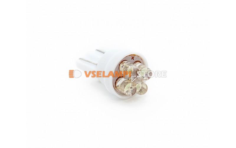Светодиод 12v T10 4LED - опция белый