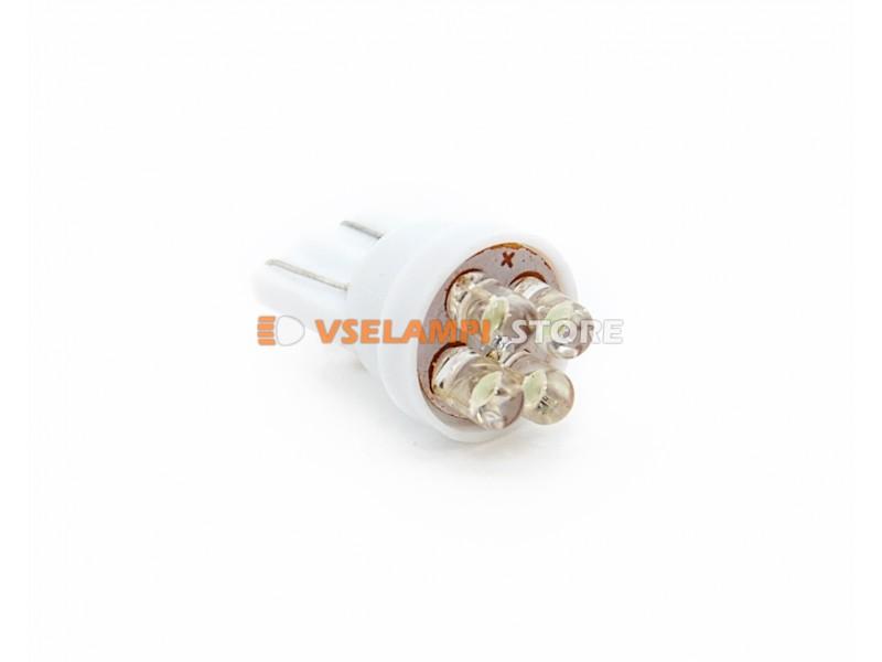 Светодиод 12v T10 4LED - цвет свечения белый