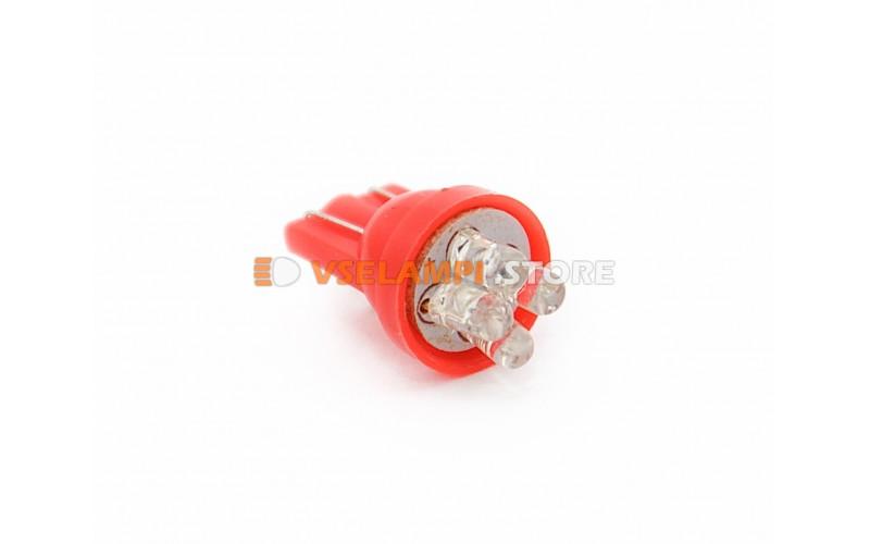 Светодиод 12v T10 4LED - опция красный