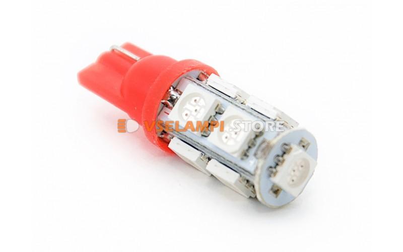 Светодиод 12v T10 9SMD 5050 - опция красный
