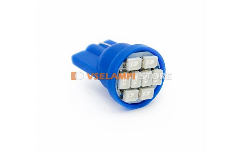 Светодиод 12v T10 8SMD 3014 - цвет свечения синий