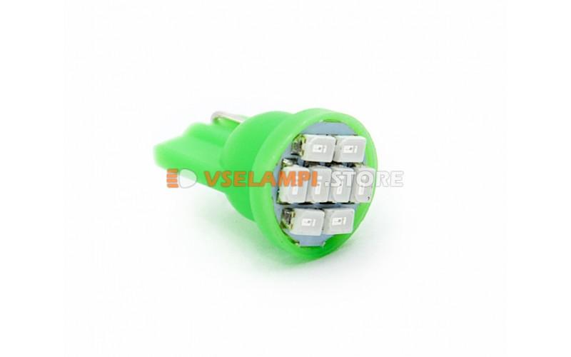 Светодиод 12v T10 8SMD 3014 - опция зелёный
