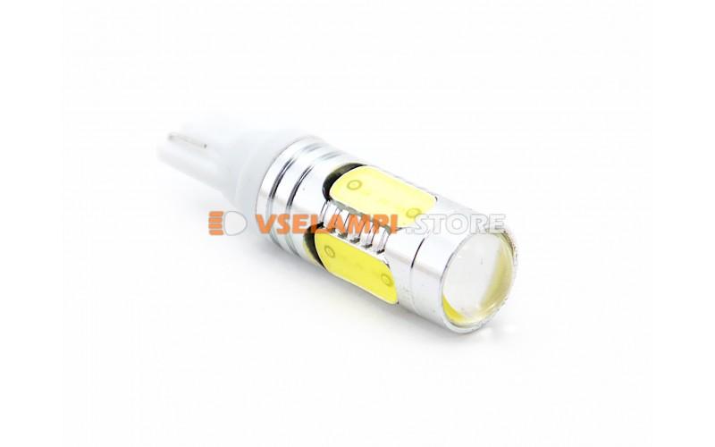 Светодиод 12v T10 5SMD PRO 5G, линза, белый