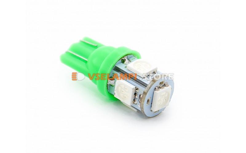 Светодиод 12v T10 5SMD 5050 - цвет свечения зелёный