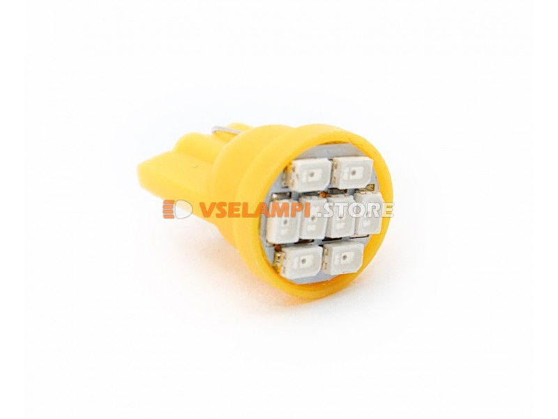 Светодиод 12v T10 8SMD 3014 - цвет свечения желтый