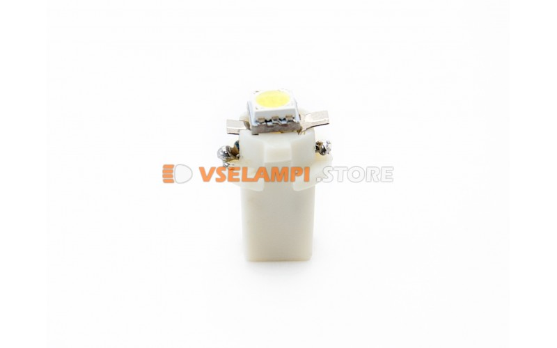 Светодиод 12vT5 BAX8,3D 1SMD 3chip микрушка с патроном - цвет свечения белый