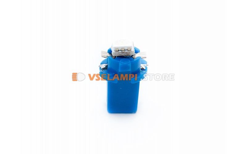 Светодиод 12vT5 BAX8,3D 1SMD 3chip микрушка с патроном - цвет свечения синий