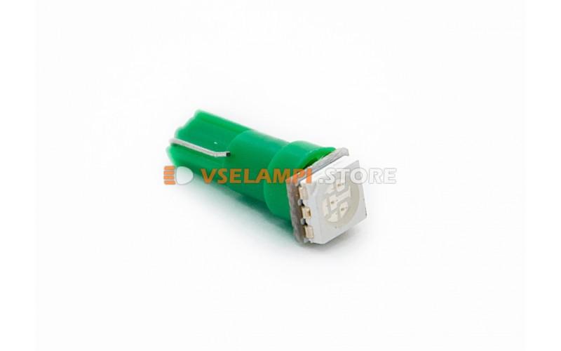 Светодиод 24vT5 1SMD 3chip микрушка - цвет свечения зелёный