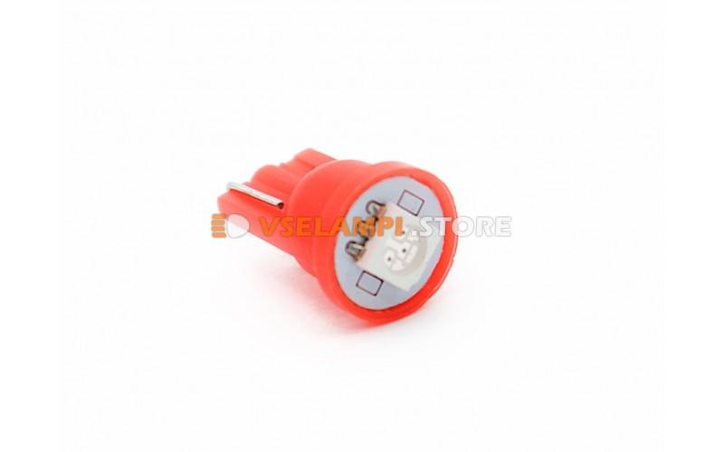 Светодиод 24vT10 1SMD б/ц - цвет свечения красный
