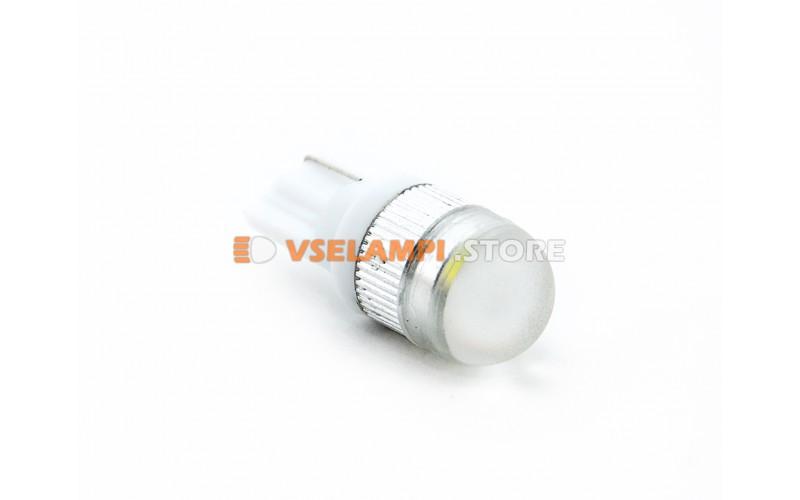 Светодиод 12vT10 1SMD б/ц линза 1w белый