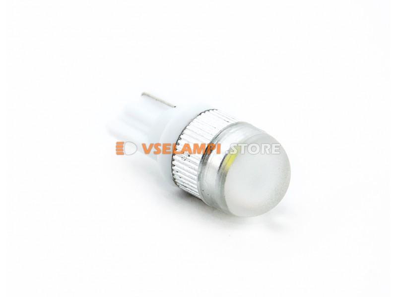 Светодиод 12v T10 1SMD линза 1w, белый