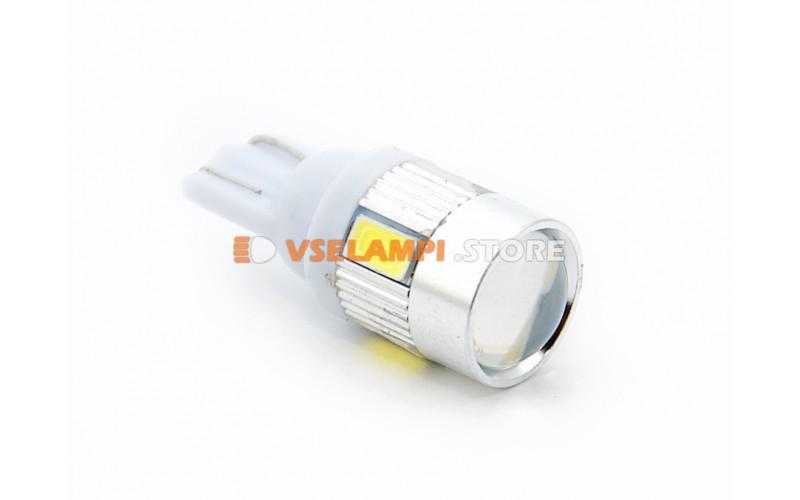 Светодиод 12vT10 6SMD б/ц линза 5630