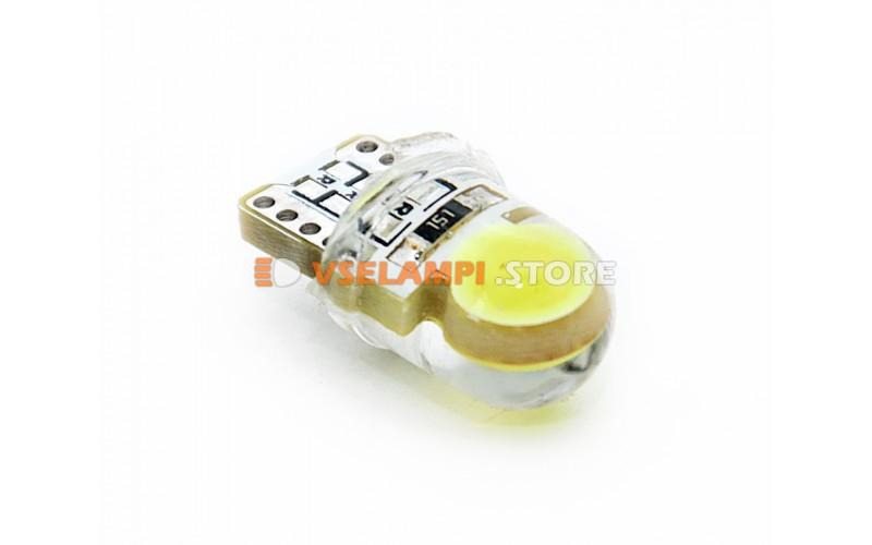 Светодиод 12v T10 2COB, силикон, белый