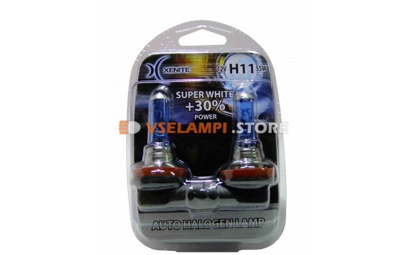 Галогенные лампы XENITE Super White +30% комплект 2шт. - цоколь H11