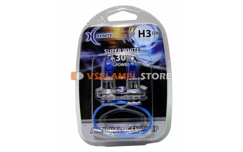 Галогенные лампы XENITE Super White +30% комплект 2шт. - цоколь H3