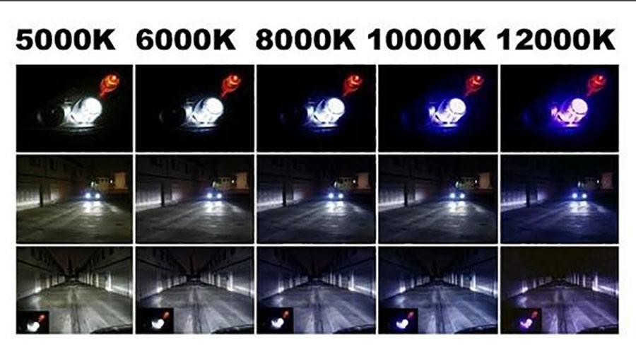 Сравнение цвета свечения авто-ламп с разной цветовой температурой